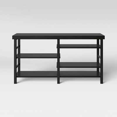 Adjustable Storage Media Stand Black Wood Grain Finish - Room Essentials™