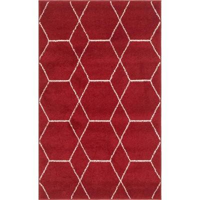 Geometric Trellis Frieze Rug Red/White - Unique Loom