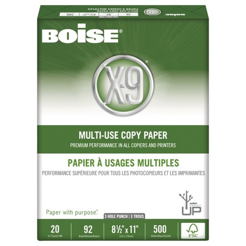 Boise® X-9 Copy 3-Hole Punched Paper, 92 Brightness, 20lb, Letter - White (5000 Per Carton) - image 1 of 3