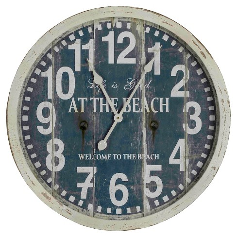 "Greenwich 29"" Round Wall Clock Off-White/Blue - Cooper Classics® - image 1 of 2"