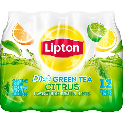 Lipton Diet Green Tea With Citrus - 12pk/16.9 fl oz Bottles - image 1 of 3