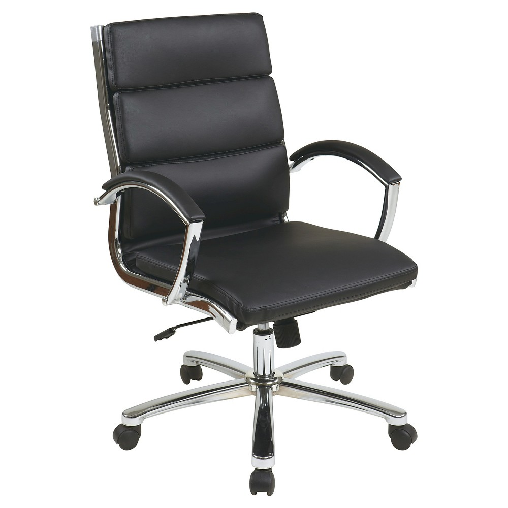 Image of Mid Back Executive Faux Leather - Black