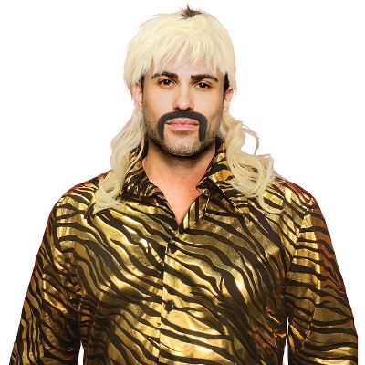 Seeing Red King of Tigers Cosplay Wig | Blonde Mullet Wig and False Mustache Costume Set