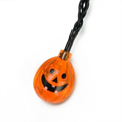 Northlight 10ct Jack-O-Lantern Pumpkin LED Halloween Lights Black Wire - 4.75' Orange