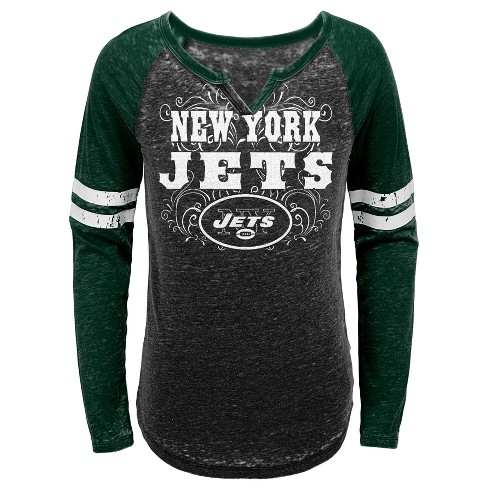 NFL New York Jets Girls' Fashion Team Alt Color Burnout Long Sleeve