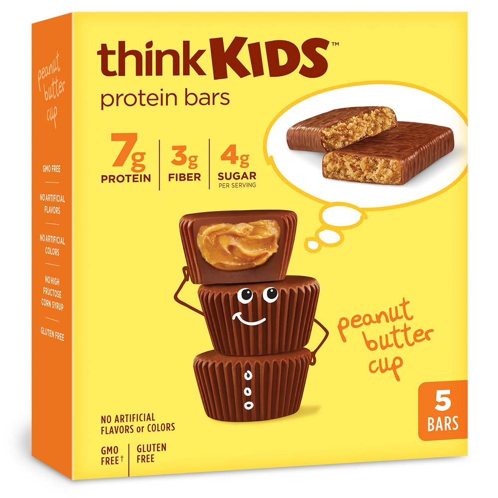 thinkKIDS Protein Bars, Peanut Butter Cup - 5ct