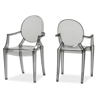 Set Of 2 Dymas Modern Smoke Acrylic Armed Ghost Chair Gray   Baxton Studio