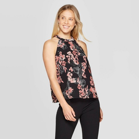 Women's Floral Print Regular Fit Sleeveless Halter Neck Top - A New Day™ Black - image 1 of 3