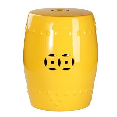 High Quality Marcela Ceramic Garden Stool   Yellow   Abbyson