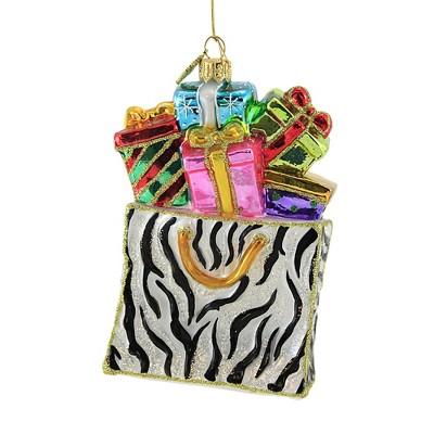"Huras 5.5"" Zebra Shopping Tote & Gifts Ornament Presents Christmas  -  Tree Ornaments"