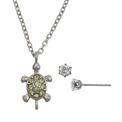 FAO Schwarz Fine Silver Plated Turtle Pendant Necklace and Earring Set