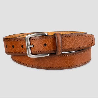 Men's Leather Belt with Stitch - Goodfellow & Co™ Tan