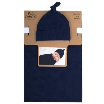 Baby Essentials Waffle Knit Swaddle and Knot Cap - Navy