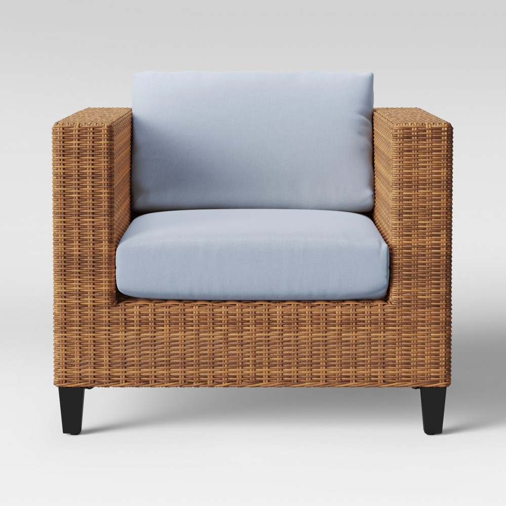 Fullerton Steel Wicker Patio Club Chair Chambray - Project 62