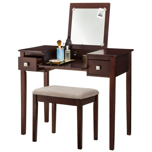Linon Kayden Vanity Set - Espresso, Brown