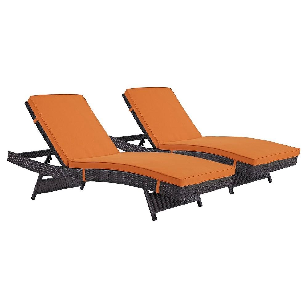 Convene Chaise Outdoor Patio Set of 2 in Espresso Orange - Modway