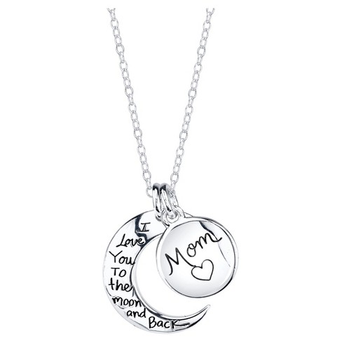 939610eead Women's Sterling Silver Mom I love you to the moon and back 2Pc Pendant -  Silver (18