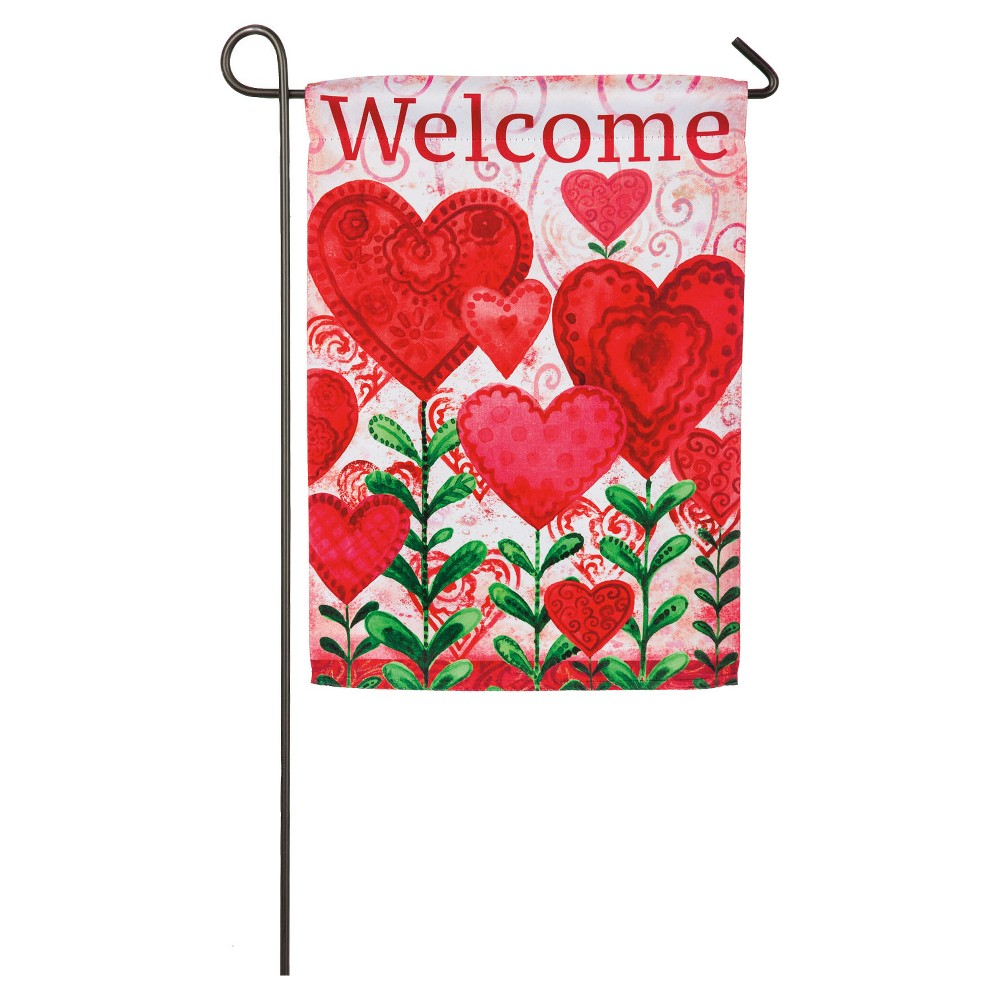 Valentine's Day Planted Garden Sub Suede Flag, Multi-Colored