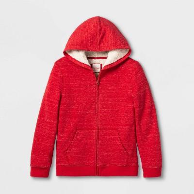 Boys' Sherpa Lined Full-Zip Hoodie - Cat & Jack™ Red M