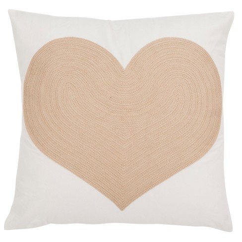 Heart Of Gold Square Throw Pillow White/Beige - Safavieh - image 1 of 3