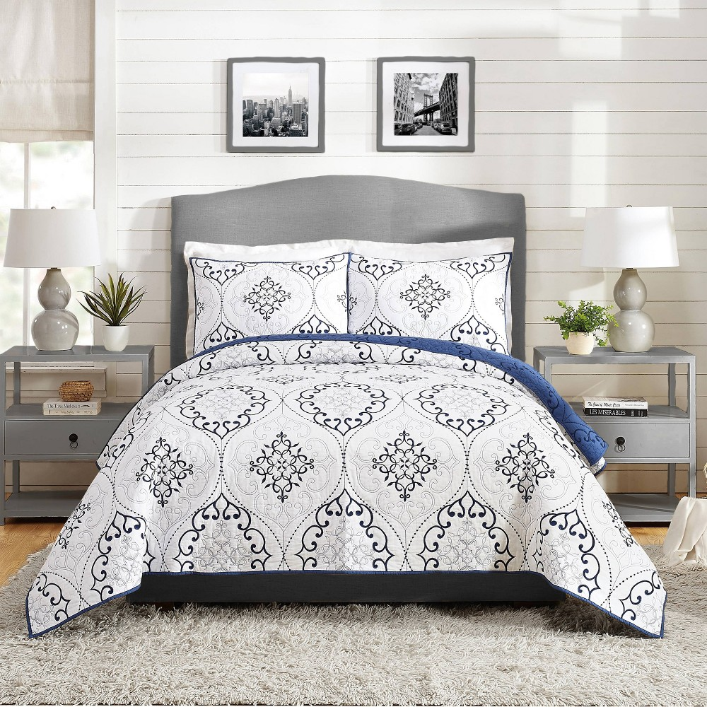 Image of Full/Queen 3pc Chambers Quilt Set Navy - Modern Heirloom