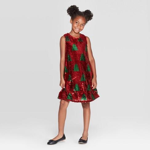 Girls' Flip Sequin Christmas Tree Dress - Cat & Jack™ Red - image 1 of 4