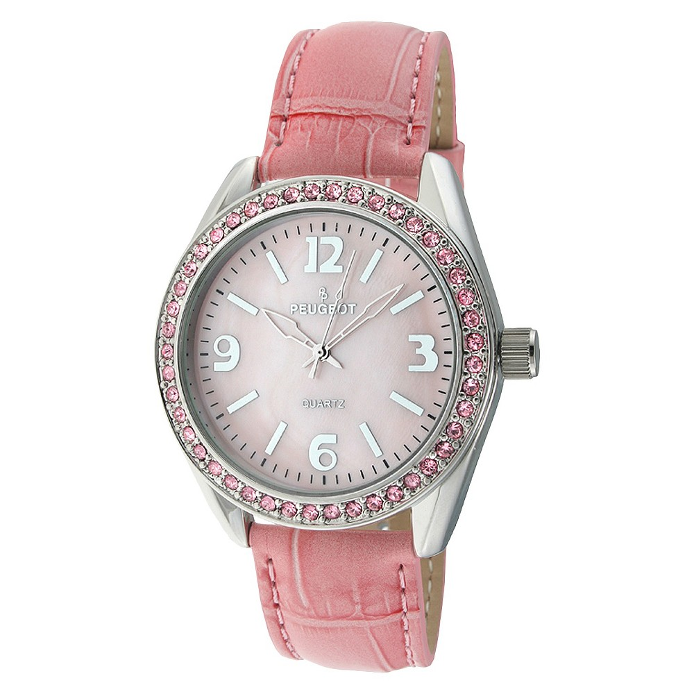 Women's Peugeot Crystal Accented Leather Strap Watch with crystals from Swarovski - Silver & Pink This casual timepiece features an analog time display. Color: Pink. Gender: Female. Age Group: Adult. Material: Leather.
