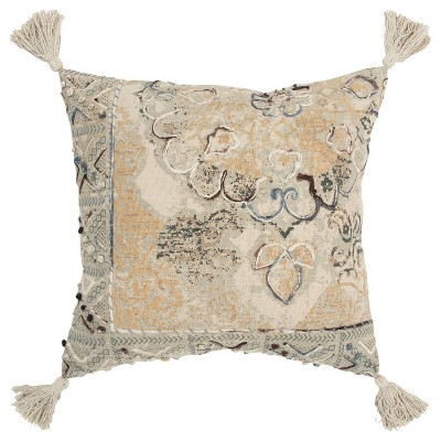 "20""x20"" Oversize Medallion with Geometric Accents Square Throw Pillow Cover Natural - Rizzy Home"