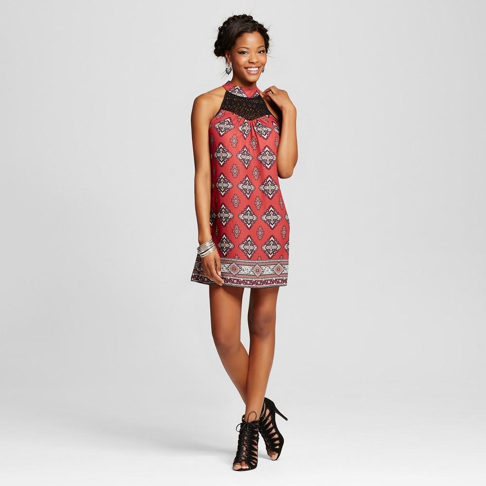Women's High-neck Shift Dress with Crochet - Xhilaration Rust (Red) XS