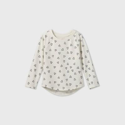 Toddler Girls' Heart Long Sleeve T-Shirt - Cat & Jack™ Cream/Navy