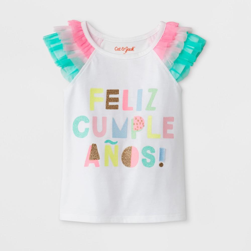 Toddler Girls' Feliz Cumpleanos Cap Sleeve T-Shirt - Cat & Jack White 18M
