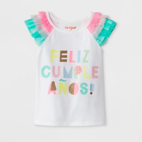 Toddler Girls' Feliz Cumpleanos Cap Sleeve T-Shirt - Cat & Jack™ White - image 1 of 1