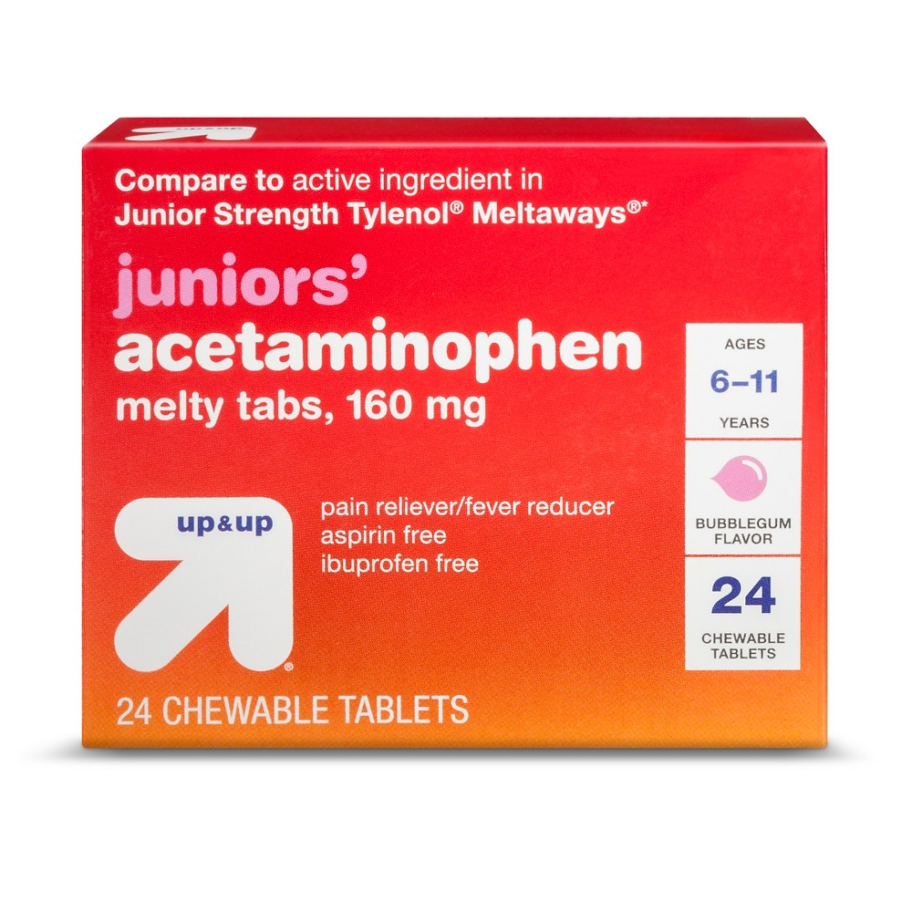 Junior Strength Acetaminophen Pain Reliever & Fever Reducer Tablets - (Compare to Junior Strength Tylenol Meltaways) - Bubblegum - 24ct - Up&Up