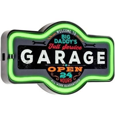 Big Daddy's Garage LED Neon Light Sign Wall Decor Green/Gray - Crystal Art Gallery