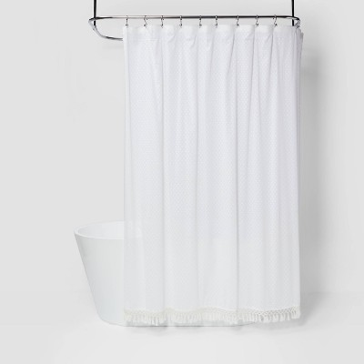 "72""x72"" Textured Dot Fringed Shower Curtain White - Opalhouse™"