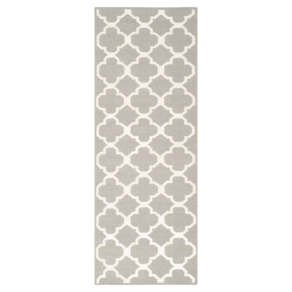 York Dhurrie Accent Rug - Gray / Ivory (2'6 X 7') - Safavieh