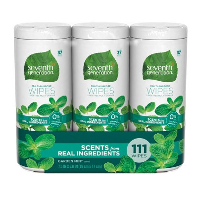 Seventh Generation Garden Mint Scent Multi Purpose Wipes - 111ct/3pk