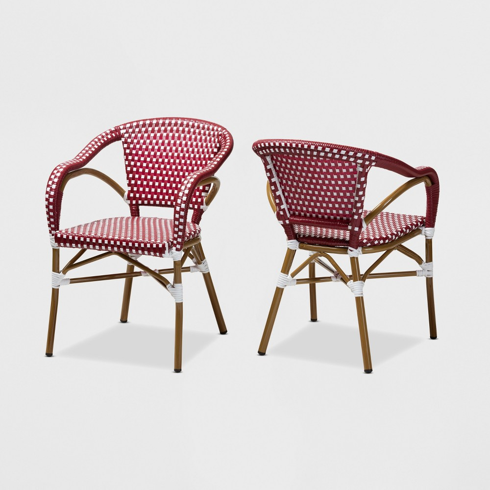 Set of 2 Eliane Indoor and Outdoor Stackable Bistro Dining Chairs Red/White - BaxtonStudio