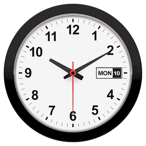 "Date & Time 12"" Wall Clock White/Black - TimeKeeper® - image 1 of 1"