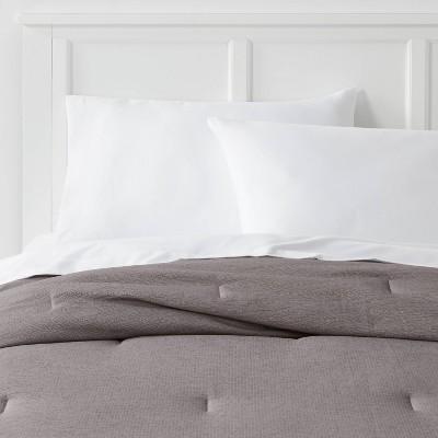 Full/Queen Micro Texture Comforter Dark Gray - Room Essentials™