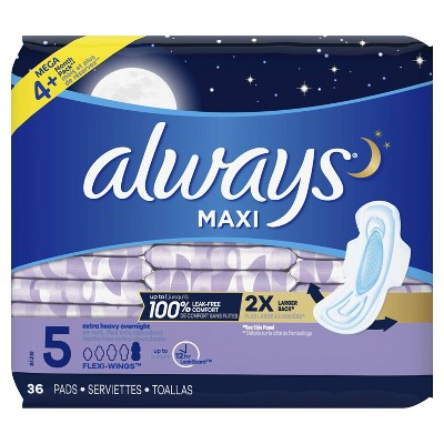 Always Maxi Extra Heavy Overnight Pads- Size 5 : Target