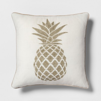 Pineapple Square Throw Pillow Cream/Gold - Threshold™