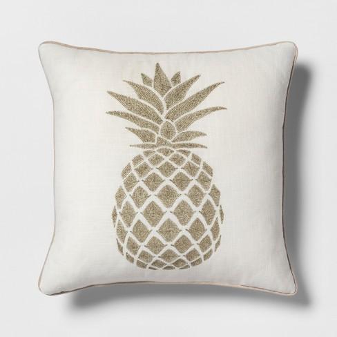 Pineapple Square Throw Pillow Cream/Gold - Threshold™ - image 1 of 3