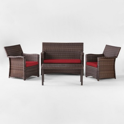 Halsted 4pc All Weather Wicker Patio Conversation Set - Red - Threshold™