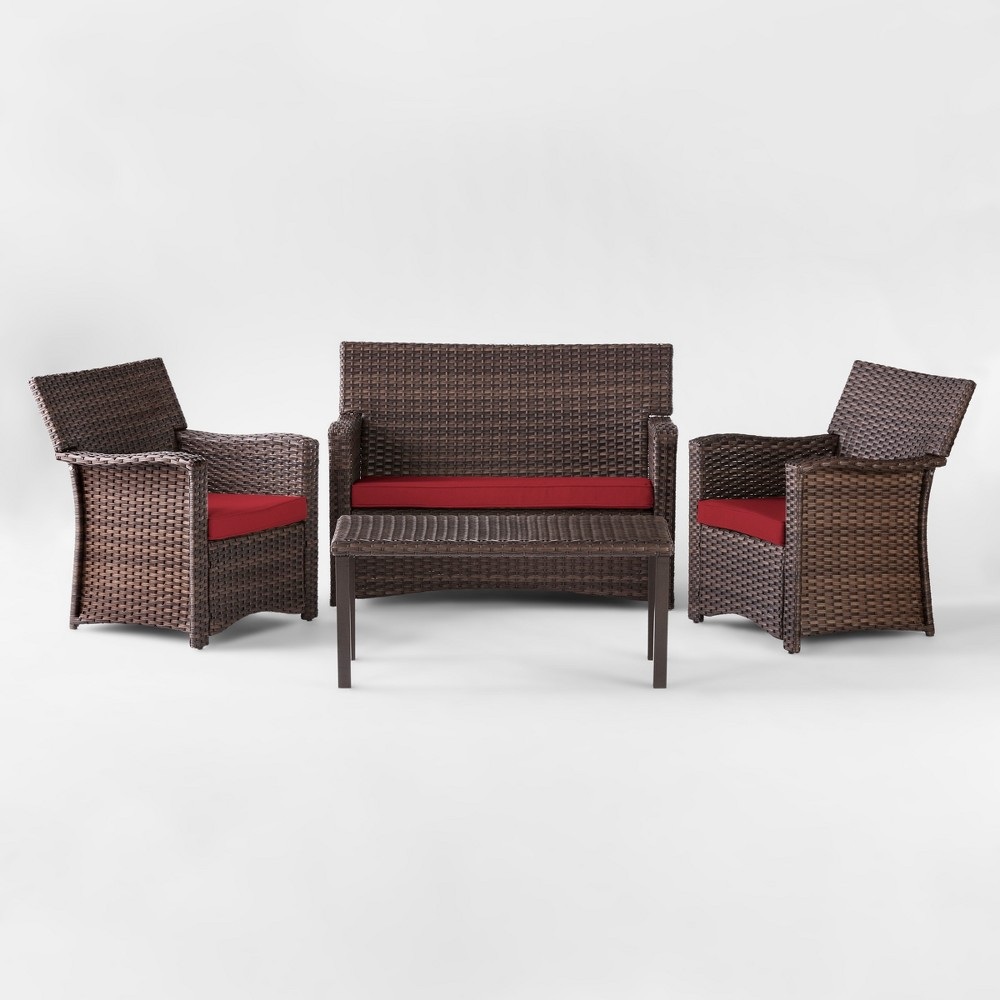 Halsted 4pc All Weather Wicker Patio Conversation Set - Red - Threshold