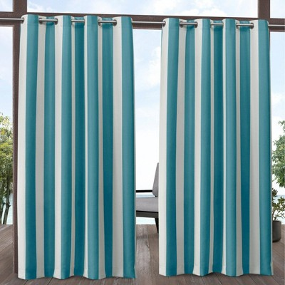 Canopy Striped Grommet Top Light Filtering Window Curtain Panels - Exclusive Home