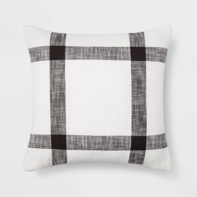 Woven Plaid Pillow Square White/Brown - Threshold™