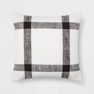 Woven Plaid Pillow Square White/Brown - Threshold™
