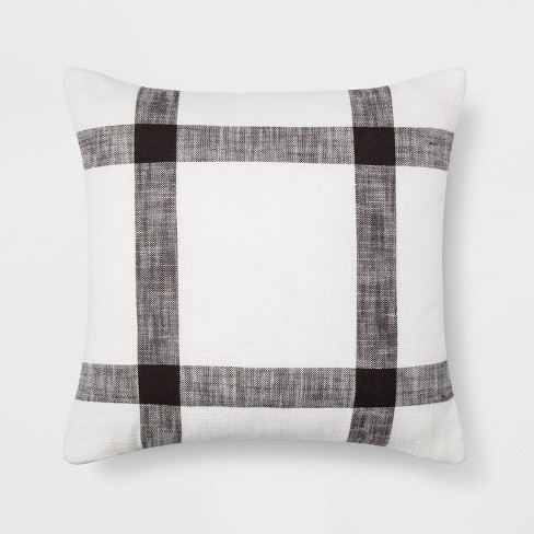 Woven Plaid Pillow Square White/Brown - Threshold™ - image 1 of 4