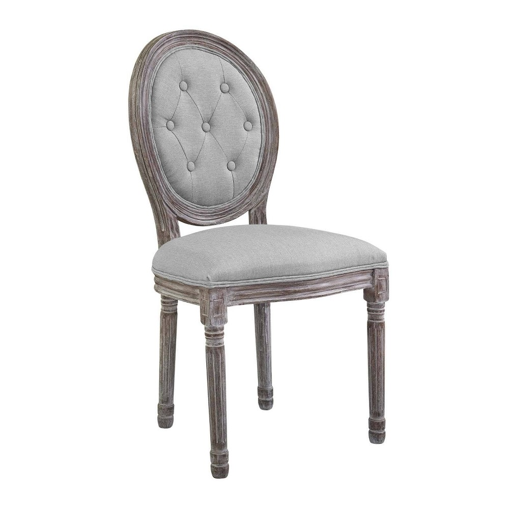 Arise Vintage French Upholstered Fabric Dining Side Chair Light Gray - Modway